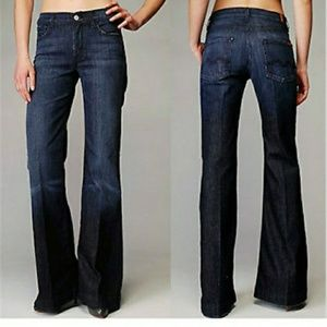 7 For All Mankind Wide Flare Stretch Ginger Jeans
